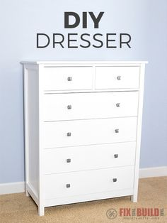 How to Build a DIY Dresser Drawer Tall Dresser) is part of Organization DIY Dresser - How to build a DIY Dresser I'll show you how to make a 6 drawer tall dresser with materials from the home center and easy joinery Full video and plans available! Diy Furniture Projects, Diy Wood Projects, Furniture Making, Bedroom Furniture, Home Furniture, Rustic Furniture, Modern Furniture, Diy Furniture Dresser, Wood Bedroom