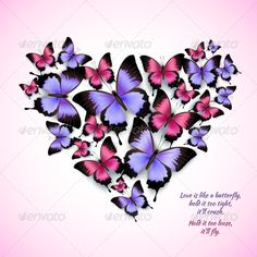 Butterflies Heart Shape by macrovector Decorative bright blue purple red trendy butterflies heart shape design pattern vector illustration. Editable EPS and Render in JP Butterfly Quotes, Butterfly Crafts, Butterfly Art, Butterfly Meaning, Papillon Violet, Art Papillon, Butterfly Painting, Butterfly Wallpaper, Vector Pattern
