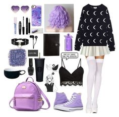 """""""Pastel Goth #17"""" by godfidence ❤ liked on Polyvore featuring ToBeInStyle, Converse, Casetify, Molton Brown, Lime Crime, NYX, Christian Dior, Zana Bayne, Skullcandy and Denby"""