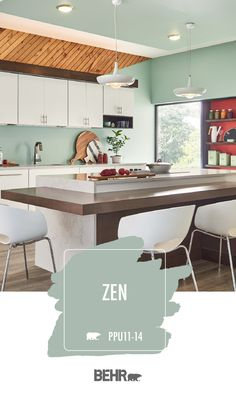Modern architecture and a playful color palette give this kitchen a bold interior design style. And it's all thanks to Behr Paint in Zen. This light pastel shade of green pairs beautifully with the bright pops of red, warm wood tones, and neutral white accents in this space. Click below for full color details.