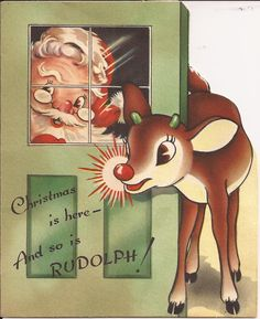 Rudolph the Red-Nosed Reindeer Vintage Christmas Images, Old Christmas, Old Fashioned Christmas, Retro Christmas, Vintage Holiday, Christmas Pictures, Christmas Glitter, Father Christmas, Vintage Images