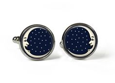 MOON & STARS - Glass Picture Cufflinks - Silver Plated (Art Print Photo W13) by RosettaLondon on Etsy
