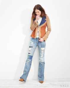 """April 20 - It's a tricky thing, the distressed jean: This pair works brilliantly because of the fades, the patches, and the wild hand with """"whiskering."""" Catherine McNeil in a Jonathan Saunders jacket, Jason Wu top, Calvin Rucker jeans, and Saint Laurent shoesCalvin Rucker Love Shack boyfriend flare patched-up jeans, $385Ron Herman, Los Angeles, 323.651.4129"""