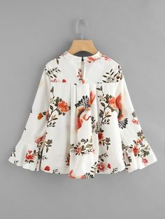 Fluted Sleeve Floral Print Pleated Front Blouse SheIn(Sheinside) is part of Fashion dresses - Stylish Dresses For Girls, Frocks For Girls, Dresses Kids Girl, Girls Dresses Sewing, Girls Fashion Clothes, Teen Fashion Outfits, Girl Fashion, Clothes For Women, Baby Frocks Designs