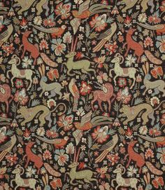 JF Tapestry Fabric / Black | Just Fabrics Traditional Tapestries, Traditional Fabric, Medieval Tapestry, Medieval Art, Country Cottage Interiors, Velvet Upholstery Fabric, Tapestry Fabric, Made To Measure Curtains, Fabric Wallpaper