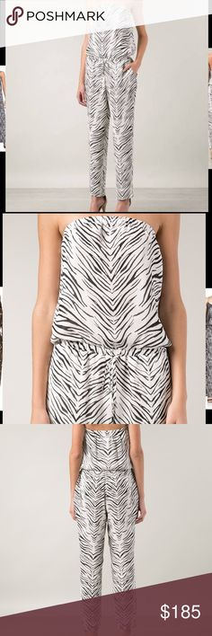 Haute Hippie silk jumpsuit Sz medium nwt Silk strapless zebra print jumpsuit retail $595 Haute Hippie Pants Jumpsuits & Rompers