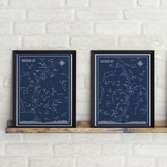 Sada 2 plakátů Follygraph Little & Big Astronomer Blue, 30 x 40 cm Constellation Map, Constellations, All Poster, Poster Prints, Sharp Prints, Pre Christmas, Map Wall Art, Christmas Delivery, Selling Art