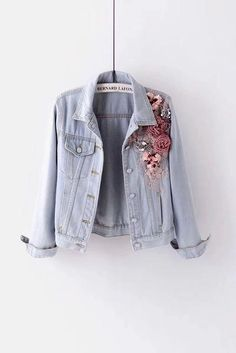 - Women Jean Jackets - Ideas of Women Jean Jackets Denim Jacket Embroidery, Denim Coat, Men's Denim, Winter Jackets Women, Colored Denim, Outerwear Women, Jeans Style, At Least, Creations