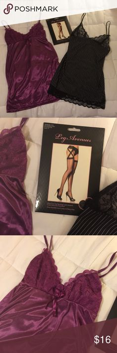 """Lingerie Set: 2 NWOT slips, 1 pr stockings/garter I got these slips from Amazon, and they're really cute, but I think I'm a little too tall for them (5'8""""). One is a rich magenta/wine color and the other is a cute black & white pinstripe, both smooth stretchy fabric that will be comfortable to wear. Could prob fit XS or S. The pantyhose/stockings say """"sheer lace-top stockings with attached criss-cross lace garter belt"""".  Everything is brand new & unused (though as stated I did try the 2…"""