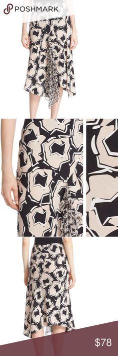 DVF Posey silk skirt, blush/blk/wht print, size 4 DVF silk skirt, blush/black/white print with asymmetrical hem. Fitted through hips with slight flare with gathered ruffle. Interesting and classy! Brand new, with tags. Diane Von Furstenberg Skirts Midi