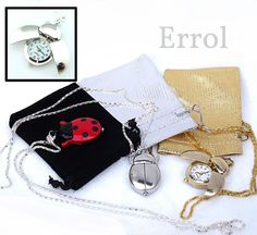 Ladybird Necklace Watch. Ladybug Pendant With Chain. In Gift Pouch. UK SELLER