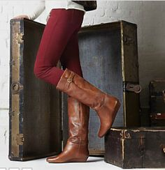 Cognac Riding Boots. love em with the wine colored jeans!