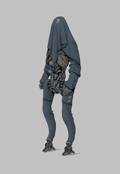 Based on photobashing I never finished so it has familiar parts from others robots and droids (like the hood) - Hoodroid Robot Concept Art, Weapon Concept Art, Cyberpunk Character, Cyberpunk Art, Character Concept, Character Art, Character Design, Robots Characters, Art Et Illustration