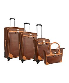 Take a look at this Brown London Bridge Four-Piece Luggage Set by Adrienne Vittadini on #zulily today!