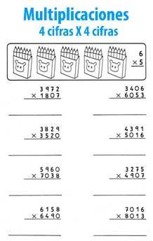 Multiplicación de 4 cifras por 4 cifras