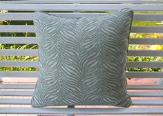 Mineral Green and Ivory Zebra Pillow cover spa blue and off white animal design pillow Designer Pillow Covers 20x20