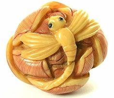 Dragonfly on Flower Hand Carved Tagua Nut Netsuke Netsuke...