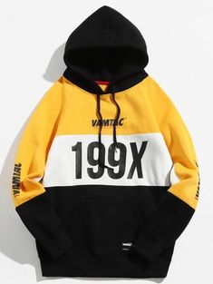 f05fbb6c6c80b 199X Graphic Fleece Lined Colorblock Hoodie