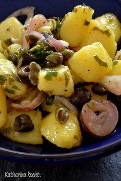 Griechischer Kartoffelsalat mit Oliven und Kapern (Vegan Bbq Sides)