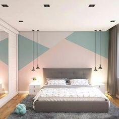 Ideas for bedroom wall designs - creative ideas ideas ideas diy para decorar cuartos Bedroom Wall Designs, Bedroom Wall Colors, Room Ideas Bedroom, Bedroom Styles, Home Decor Bedroom, Girl Bedroom Walls, Bedroom Paint Design, Kids Bedroom Paint, Master Bedroom