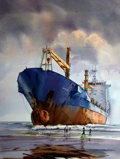 MV Wisdom runs aground, by Suresh Bhosale… Watercolor Sea, Watercolor Landscape Paintings, Landscape Art, Boat Art, Boat Painting, Guache, Nautical Art, Ship Art, Fine Art