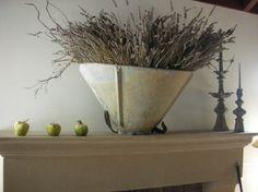 antique metal grape harvesting basket