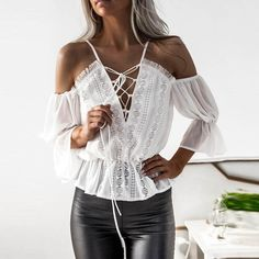a23ecd0635 Maternity Styles - Kangma Women Short Sleeve Off Shoulder Lace Chiffon  Blouse Casual Shirt Tank Tops