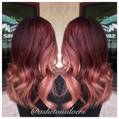 Red and Rose gold ombre by Asheton silvers