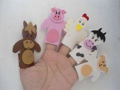 Conjunto de dedoches dos Animais da Fazenda em EVA.