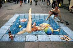 30 Examples of 3D Street Art | Cuded  23. Julian Beever  This girl is enjoying her free time in a pool in a picture by Julian Beever.