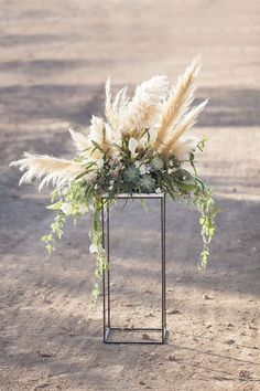 Wedding Trend: 30 Boho Pampas Grass Wedding Ideas Rustic outdoor holiday wedding decor - Photo by Ka Outdoor Wedding Centerpieces, Wedding Flower Arrangements, Floral Arrangements, Centerpiece Ideas, Tall Centerpiece, Ceremony Decorations, Quinceanera Centerpieces, Rustic Centerpieces, Wedding Plants