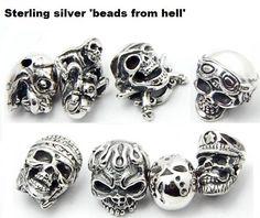 Unieke Sterling Zilver Biker / Skull / Biker / Jason Voorhees / Helldog Beads / Onyx Bracelet