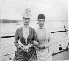 Czarina Marie Feodorovna, right, and her sister Alexandra, Queen of England.  Their sons, Czar Nicholas II and King George V, would grow up to bear a striking resemblance to each other.