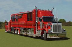 Modest custom Peterbilt RV with matching inclosed trailer. Custom Peterbilt, Peterbilt Trucks, Peterbilt 379, Show Trucks, Big Rig Trucks, Custom Big Rigs, Custom Trucks, Motorcycle Camping, Camping Gear