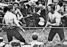 "Bare Knuckled Boxing: The last fight in history lasted 75 rds John L. Sullivan vs Jake Kilrain (July 7, 1889) ""The boxing match of the century"" & still one of the most significant fights in history. Under bare knuckle rules, a round of fighting lasted until a fighter was knocked or thrown down; wrestling techniques were also permitted. Sullivan, aka the Boston Strong Boy, is recognized as the last heavyweight champion & the 1st American athlete to earn over a million dollars."