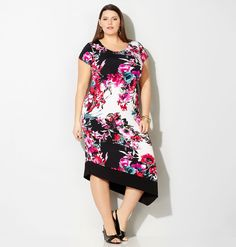 Shop new plus size spring dresses in sizes 14-32 like the Pink Floral Asymmetrical Sheath available online at avenue.com. Avenue Store