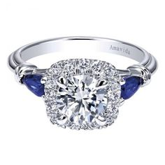 Amavida 18K White Gold Contemporary Halo Diamond Engagement Ring with Sapphire Accents - I LOVE THIS RING!