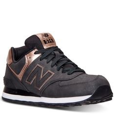 New Balance Women's 574 Precious Metals Casual Sneakers from Finish Line - Finish Line Athletic Shoes - Shoes - Macy's Navy Blue Sneakers, Black Nike Shoes, Girls Sneakers, Casual Sneakers, Sneakers Fashion, Casual Shoes, Shoes Sneakers, Work Casual, Women's Shoes