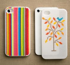 cross stitched iphone cases