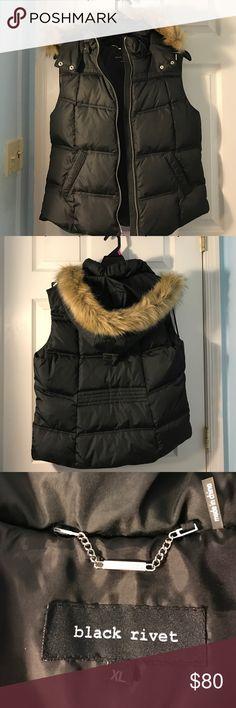 Black Rivet Puffy Vest w/ Faux-Fur Trim Hood Black Rivet Puffy Vest with detachable Faux-Fur hoodie, mint condition, have not worn, PRICE NEGOTIABLE Black Rivet Jackets & Coats Vests