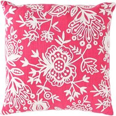 #FreshAmerican Flora Crewel Fuchsia Indoor/Outdoor Pillow. We've gotten crafty with these distinctive pillows, featuring acrylic embroidery on our signature indoor/outdoor polypropylene.