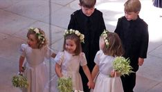 dailymail: Wedding of Prince Harry and Meghan Markle, Windsor Castle, May 19, 2018-bridesmaids and page boys, including Princess Charlotte (center) and Prince George (top right)