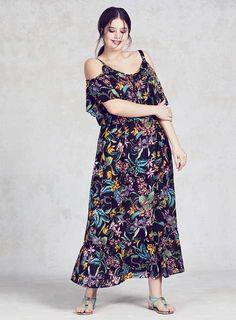 ae89b660e689 DP Curve Black Tropical Cold Shoulder Maxi Dress - New In- Dorothy Perkins  Plus Size