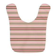 Pink and beige stripes Bib #babyshowergift