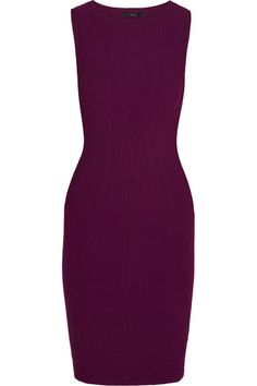 Plum stretch-knit jacquard Ribbed trims Slips on 83% viscose, 17% polyester Dry clean