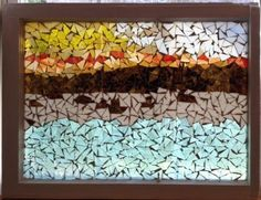 "Glass ""Boats on the Bay"" Mosaic piece in a vintage window."