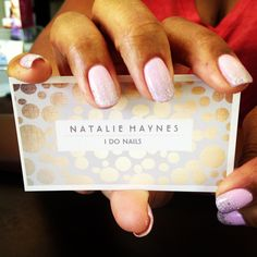 Pink shellac nails by Natalie