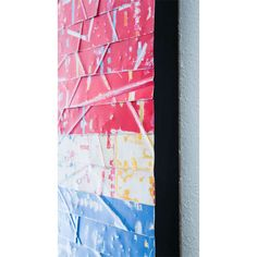"""""""Twist and Shout"""" (side, close-up). Abstract metal art by artist Paula Gibbs, Palm Springs, CA. Layered enamel on metal mounted on wood panel, 12"""" X 47"""" x 1.5"""""""
