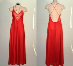 Vintage Lipstick Red Maxi Slip Dress by houseofstylevintage, $43.00