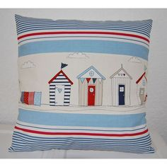 If, like me, you love beach huts then this cushion cover will apeal to you. The huts are all printed in lovely red, navy, blues and beiges and is teamed up with a blue and red coloured stripe...